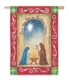 """Religious Love Was Born on Christmas Morn Holiday Garden Flag 12.5"""" x 18"""" by Evergreen. $19.99. From the Christmas Morning CollectionItem #14S2095FBCreate a festive winter ambiance in your garden with this Christmas flagFeatures The Holy Family with a decorative red and green borderFlag reads """"Love Was Born on Christmas Morn"""" in blackDimensions: 18""""H x 12.5""""WMaterial(s): polyesterNote: Flag only, flag stand not included. Save 20% Off!"""