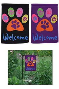 Welcome Purple Paw Garden Flag at The Animal Rescue Site