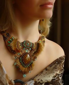 Necklace Sophie  Necklace Bead Embroidery Art by JewelryElenNoel, $288.00