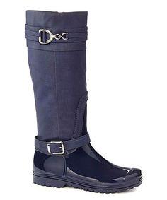 Navy Buckle Rain Boot