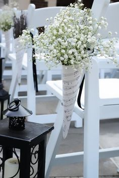 Love the sheet music, maybe to All We Need Is Love by the Beatles and instead of baby's breath, it can be flowers in our color scheme.