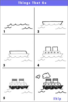 Here's another 6 step drawing of a fun ship. If you like your ship when you're finished, try drawing another boat behind it that the ship is towing! Enjoy you creativity