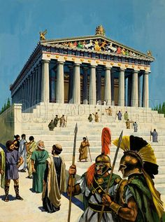 Parthenon. Building the Parthenon was a formidable task. But in the end the builders triumphed and presented their city with the world's finest example of Doric architecture. Original artwork for illustration on p15 of Look and Learn issue no 852 (13 May 1978).