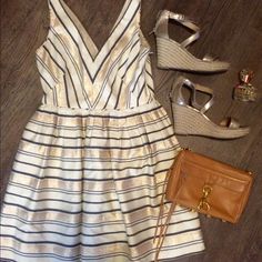 J. Crew Striped Party Dress Sz 6 J. Crew party dress in cream, gold and black with stripes details. Only worn once for a rehearsal dinner! Pleated and in excellent condition. Perfect for a spring/summer wedding!  J. Crew Dresses