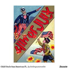Child Uncle Sam American Flag Fireworks 5x7 Paper Invitation Card