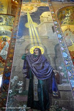 Mosaic in Church of the Spilled Blood, St. The Church contains over 7500 square metres of mosaics—according to its restorers, more than any other church in the world. Catholic Art, Catholic Saints, Religious Art, Christian Church, Christian Art, St Pétersbourg Rússie, Houses Of The Holy, Church Interior, Religious Architecture