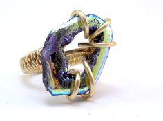 Titanium Druzy Ring - etsy