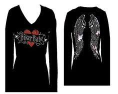 Biker Babe Rhinestone Angel Wings Long Sleeve V Neck Bling Tee T-shirt Womens (3X, Black). That is an embellished V Neck Womens style cotton spandex tee shirt. This fashionable novelty super smooth tee has a slimming comfort tight fit with stretch that flatters all physique sorts.: Measurement Small fits size 2-four – chest measurement 32-34, Medium fits size 6-eight- chest... http://geek-tshirts.com/biker-babe-rhinestone-angel-wings-long-sleeve-v-neck-bling-tee-t-shi