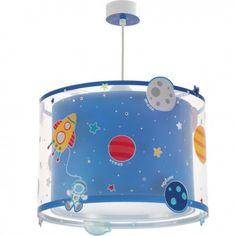 Lámpara de techo Planets. Lámpara decorada con cohetes, astronautas, planetas y estrellas. ¡Brilla en la oscuridad!