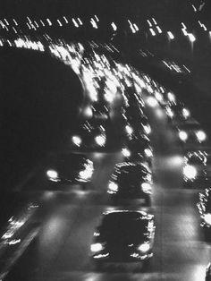 Yale Joel: Night traffic on the Major Deegan Expressway. New York, June 1958 Gray Aesthetic, Black Aesthetic Wallpaper, Night Aesthetic, Black And White Aesthetic, Aesthetic Collage, Aesthetic Backgrounds, Aesthetic Wallpapers, Spring Aesthetic, Aesthetic Women