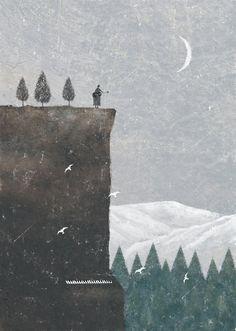 Akira Kusaka Illustration - Akira Kusaka…Winter Soul…Seasons of the soul - Winter Illustration, Japanese Illustration, Cute Illustration, Graphic Design Illustration, Moon Art, Illustrations And Posters, Akira, Collage Art, Game Art