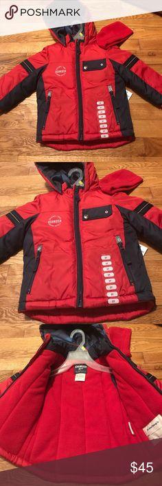 Oshkosh B'gosh Hooded Coat Sz 2T Red & Black New with tags  Hooded fleeced coat size 2T  Fleeced inside OshKosh B'gosh Jackets & Coats Puffers
