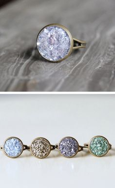crushed crystal rings