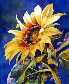 Sunflower paintings are often a treat to eyes. It is a beautiful floral subject preferred by many artists. Van Gogh sunflower painting series is considered Sunflower Art, Watercolor Sunflower, Watercolor Flowers, Watercolor Paintings, Sunflower Paintings, Watercolors, Painting Art, Sunflower Pictures, Frida Art