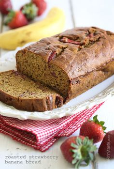 Skinny Roasted Strawberry Banana Bread.     1-1/4 cups strawberries, diced,     3 ripe medium bananas, mashed,     2 tbsp unsweetened apple sauce,     1 1/4 cups white whole wheat flour,     3/4 tsp baking soda,     1/4 tsp salt,     2 tbsp butter, softened,     1/2 cup light brown sugar (not packed),     2 large egg whites,     1 tsp vanilla extract,     baking spray. Roast strawberries 25 min @ 350*F. Bake in loaf pan 50 min @ 350*F.