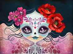 Sugar Skull Girl Amelia Calavera 8 x 10 Digital by sandragrafik
