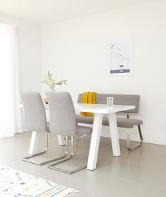 Mix and match dining chairs and benches for a unique and versatile dining setting. The Fergus smoke grey dining bench and matching cantilever dining chairs, upholstered in a sleek melange fabric bring a modern feel to minimal homes. White Gloss Dining Table, Dinning Table, Dining Set, Dining Bench, Dining Chairs, Dining Room, Bench Set, Table And Chair Sets, Chair Fabric
