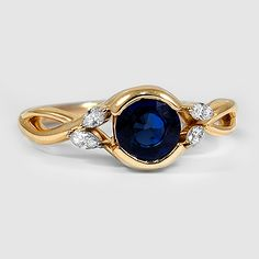 18K Yellow Gold Sapphire Willow Diamond Ring // Set with a 6mm Premium Round Blue Sapphire (Modified with Semi-Bezel Setting) #BrilliantEarth