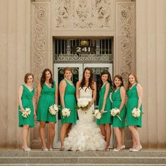 Emerald Bridesmaid Dresses // photo by: Jess + Nate Studios // http://www.theknot.com/weddings/album/a-classic-vintage-wedding-in-kalamazoo-mi-138438