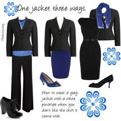 """One gray pin stripe jacket three ways"" by professionality on Polyvore"
