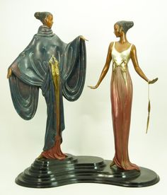 "ERTE ART DECO BRONZE SCULPTURE ""DREAM BIRDS"" Depicting two women standing on a stepped plinth, the figures draped in long gowns patinated in shades of magenta and gold. Impressed to the base ""486/500 C. 1988 Seven Arts, London"" and ""Erte"" to the top of the base. Romain de Tirtoff (Russian 1892-1990) better known as Erte is most recognizable for his Art Deco images. 18"" H (45.72cm) x 15.5"" W(39.37cm). Total weight 11250g, Circa - 1988"