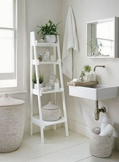 Small bathroom tip: maximizing vertical space allows you to store all of your to. 🌟Small bathroom tip🌟: maximizing vertical space allows you to store all of your toiletries without looking cluttered! Bathroom Storage Ladder, Bathroom Storage Solutions, Bedroom Storage, Small Bathroom Furniture, Furniture Vanity, Furniture Ideas, Furniture Storage, Ikea Furniture, Furniture Makeover