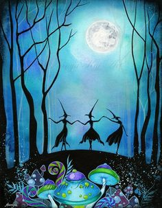 Oh, it's a marvelous night for a moon dance! Witches Dancing Under the Moon - Halloween Art Haunted Mushroom Forest Woodland Fairy - x 11 Painting Print, via Etsy. Halloween Painting, Holidays Halloween, Halloween Crafts, Halloween Decorations, Witch Painting, Halloween Costumes, Happy Halloween, Halloween Dance, Halloween Canvas