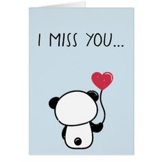 Lonely Panda Bear Miss You Greeting Card - love cards couple card ideas diy cyo