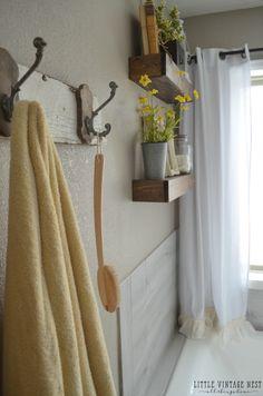 Farmhouse Master Bathroom Makeover::Floating Shelves