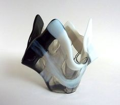 Glass Votive Candle Holder in White Black and Gray by bprdesigns, $25.00
