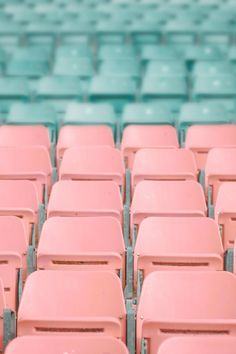 Pink and Blue Stadium Chairs · Free Stock Photo Blue Aesthetic Pastel, Orange Aesthetic, Aesthetic Colors, Aesthetic Collage, Aesthetic Vintage, Aesthetic Pictures, Pastel Walls, Pink Walls, Photo Wall Collage