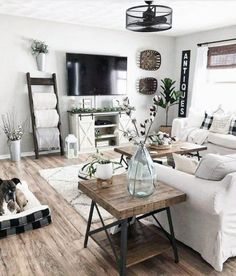 100 Best Farmhouse Living Room Tv Stand Design Ideas 46 in 2020 Small Space Living Room, Living Room Grey, Home Living Room, Apartment Living, Living Room Designs, Living Room Furniture, Small Spaces, Tiny Living, Small Apartments