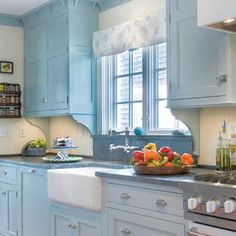 light blue kitcken cabinets - Google Search