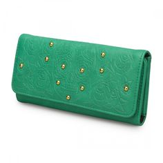Loungefly Teal Embossed Sugar Skull Wallet With Studs - Wallets