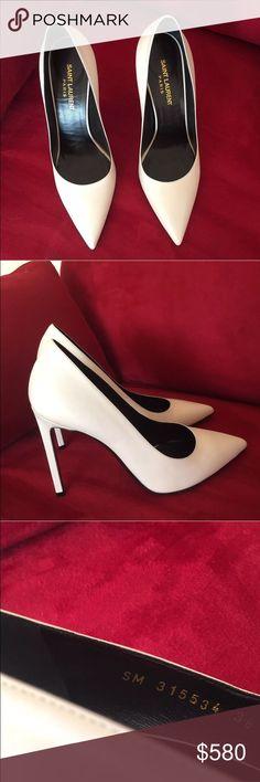 """Saint Laurent white pumps Saint Laurent white pumps. Heel is 4"""". No trades Saint Laurent Shoes Heels"""