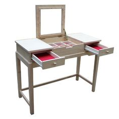 International Concepts Unfinished Vanity Table. Could stain to match our bedroom furniture with a cute stool! I WANT!!