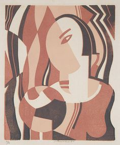 Leonard Beaumont, title and date unknown, linocut. Photo © Museums Sheffield by Museums Sheffield, via Flickr