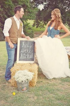 "Love this as an announcement or save the date! would change to ""hay we're gettin' hitched!"""