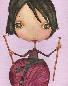 Knitting Girl Print Art For Knitters Because Knitting Is Love