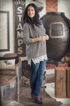 Image of Oversized Crochet and Lace Trimmed Sweater - Tan
