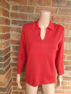 PERUVIAN CONNECTION (L) 100% Pima Cotton Top Large V Neck 3/4 Sleeve Red #PeruvianConnection #KnitTop #Casual