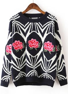 Blue Long Sleeve Geometric Pattern Embroidered Sweater US$32.62