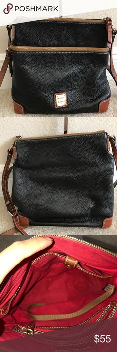 """Dooney & Bourke Pebble Leather Crossbody Preown condition. Selling """"as is"""" some wrinkles in the leather. Bottom corner has some wears/scratches. Front and back of purse has some chipping of the leather. Inside purse is a little dark with some stains.  Measures approximately 10-1/4""""W x 10-1/2""""H x 4""""D with a 23"""" to 26"""" strap drop; weighs approximately 1 lb, 6 oz Body/trim 100% leather; lining 100% cotton Dooney & Bourke Bags Crossbody Bags"""