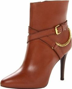 Ralph Lauren Chained Brown Women's Laurie Ankle Boots #Shoes #Heels