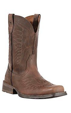 Ariat Rambler Phoenix Men's Distressed Brown Wide Square Toe Cowboy Boots