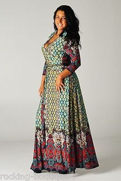 PAISLEY-Maxi-Wrap-Dress-Tie-Front-Boutique-Fashion-Bohemian-Chic-PLUS-XL-3XL