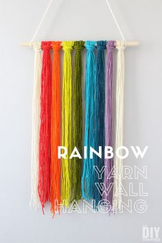 Learn how to make a yarn wall hanging like this rainbow yarn wall hanging. This yarn wall hanging took less than 30 minutes to make. Yarn wall hangings are great crafts for kids. Cheap Party Decorations, Rainbow Decorations, Yarn Wall Hanging, Wall Hangings, Kids Diy, Crafts For Kids, Yarn Crafts, Diy Crafts, Rainbow Crafts