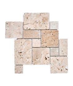 Travertine Modular Unfill Tumbled Tile