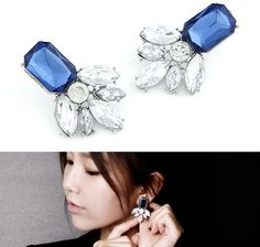 New Arrival Fashion Earrings Jewelry Hot Wholesale Exaggerated temperament Metal Crystal Flower Earrings