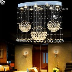 Modern LED oval chandelier lamps crystal lamps restaurant lights hanging wire lamps living room lights